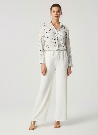 Monamoda Beli Lastikli Bol Paça Pantolon Takım Alt Beyaz